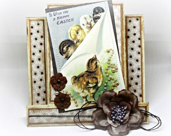 Easter Card - Handmade Spring Greeting Card - Baby Chick Card - Shabby Chic Vintage Style Rustic 3D Keepsake Happy Easter Card