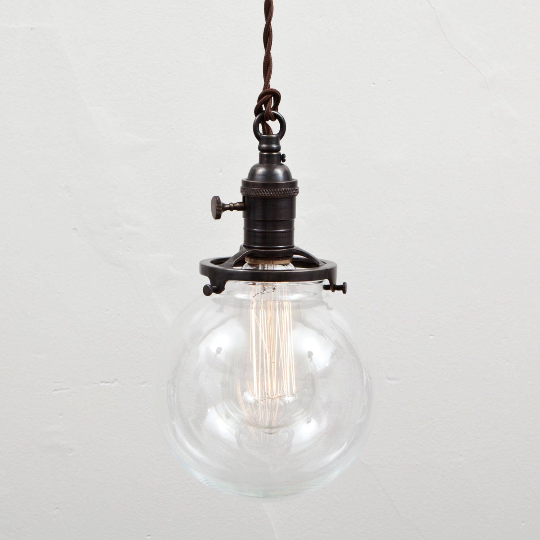 Pendant Light Glass Globe Shade Switch Socket Hanging