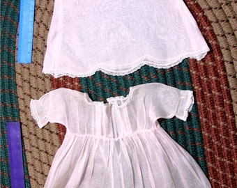 Antique doll dress and slip silk organdy for 22-23 inch doll