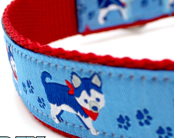 Husky Dog Collar, Big Dog Collar, Blue Dog Collar, Boy Dog Collar, Wolf Dog Collar, Red Dog Collar, Adjustable Dog Collar