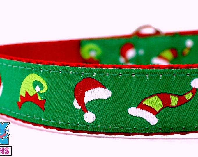 Santa Hat Dog Collar, Elf Dog Collar, Adjustable Dog Collar, Winter Dog Collar, Christmas Dog Collar