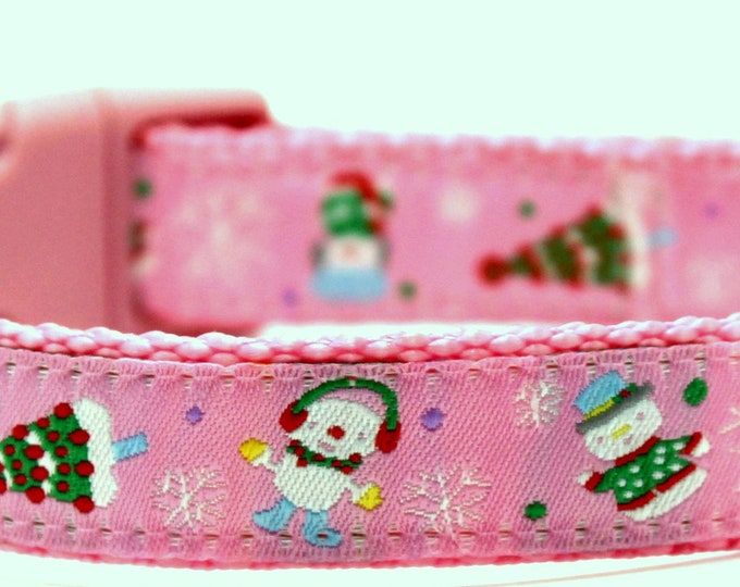 Silly Snowman Dog Collar in Pink, Adjustable Dog Collar, Winter Dog Collar, Christmas Dog Collar