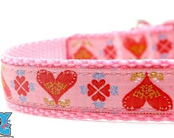 Red Hearts on Pink Dog Collar Valentine Dog Collar Hearts Dog Collar