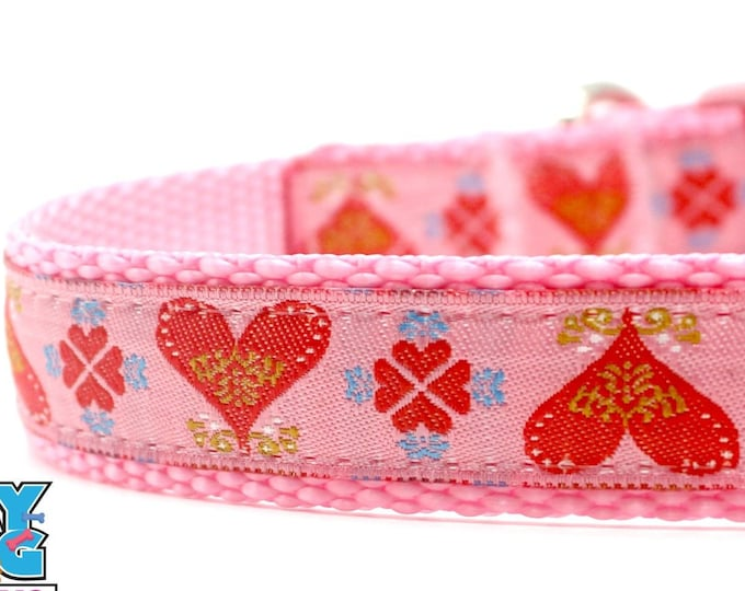 Red Hearts on Pink Dog Collar Valentine Dog Collar Hearts Dog Collar