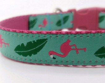 Flamingo and Fern Leaves Dog Collar, Pink Flamingo Dog Collar, Summer Dog Collar, Girl Dog Collar, Adjustable Dog Collar, Pink Dog Collar