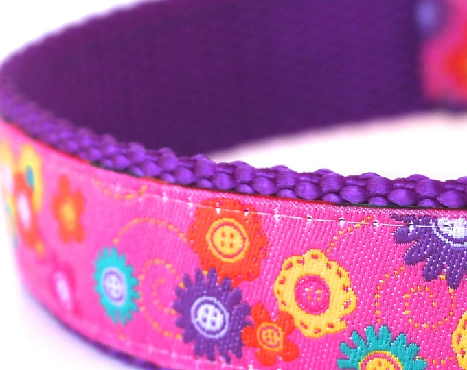 Hot Pink Daisies Dog Collar, Ribbon, Flower Garden Collar, Ribbon Adjustable Pet Collar, Spring Dog Collar, Purple Dog Collar