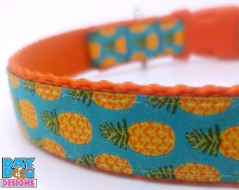 Pineapples on Turquoise Adjustable Dog Collar Summer Dog Collar