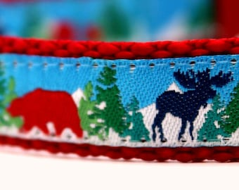 Red Bear Navy Moose Dog Collar, 5/8 inch width Pet Collar, Adjustable Dog Collar, Little Dog Collar, Winter Dog Collar, Christmas Dog Collar
