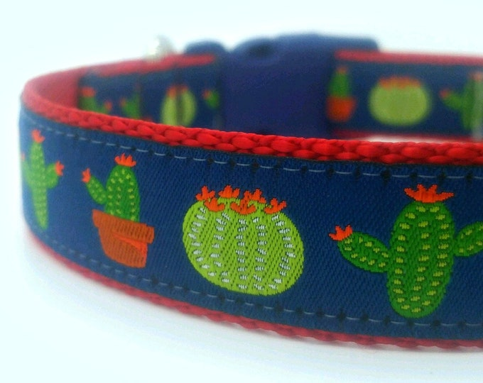 Cactus Dog Collar, Big Dog Collar, Southwest Dog Collar, Dessert Dog Collar, Adjustable Dog Collar, Saguaro Dog Collar, Flower Dog Collar