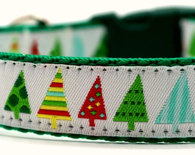 Modern Christmas Tree Dog Collar, Adjustable Dog Collar, Winter Dog Collar, Christmas Dog Collar