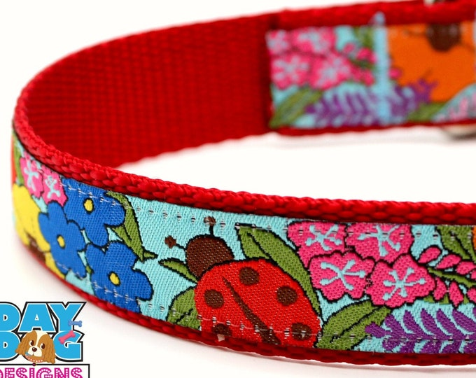 Ladybug Dog, Ladybugs in the Garden Dog Collar, 1 inch width Pet Collar, Adjustable Dog Collar, Big Dog Collar, Spring Dog Collar