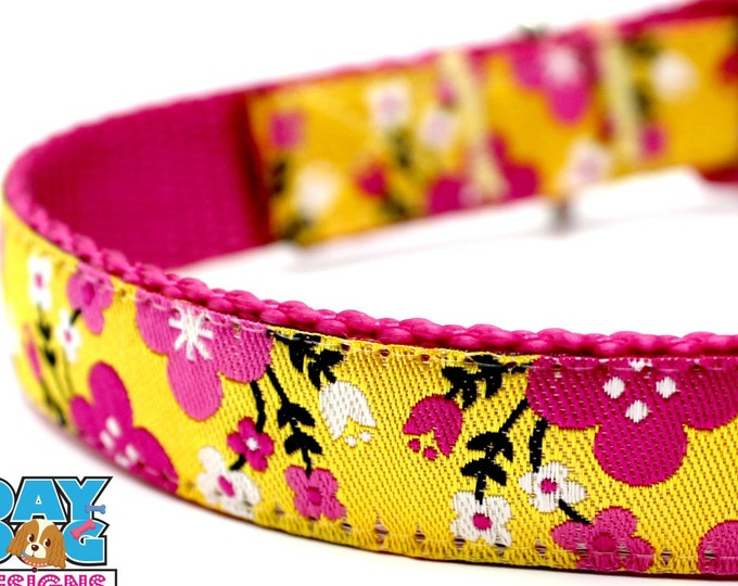Pink Flower Garden Dog Collar, Yellow Flower Dog Collar, Spring Dog Collar, Summer Dog Collar, Floral Dog Collar