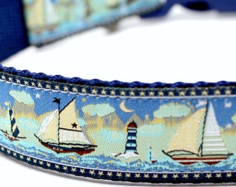 Sailboats Dog Collar, Sailboats and Stars, Ocean Dog Collar, Boating Dog Collar, Summer Dog Collar, Nautical Dog Collar, Adjustable Dog
