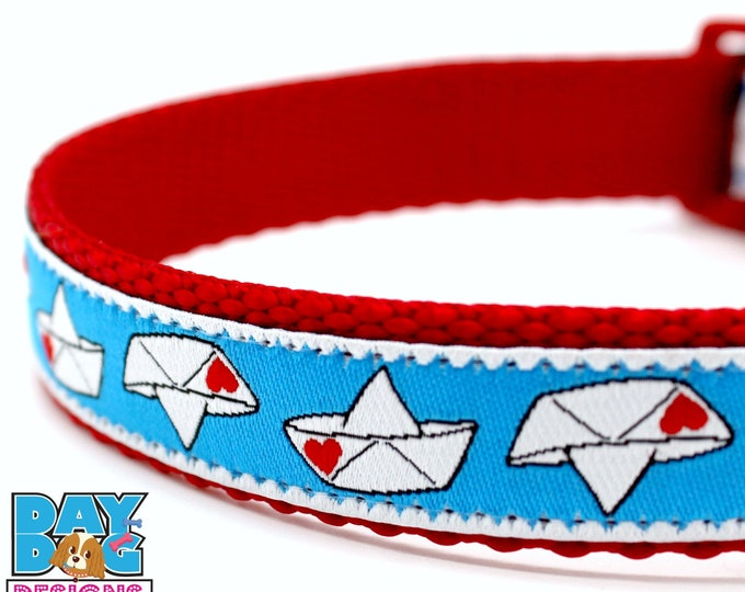 Paper Boats Dog Collar, Heart Dog Collar, Valentine Dog Collar, Red Dog Collar, Adjustable Dog Collar