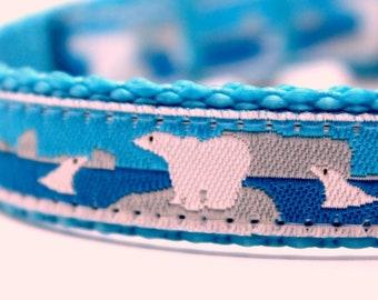 Polar Bears and Seals, 5/8 inch width Pet Collar, Adjustable Dog Collar, Little Dog Collar, Winter Dog Collar