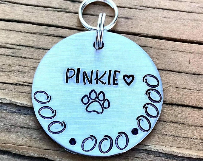 Custom Tag, Metal Stamped, Handmade, Pet Tag, Pet ID Tag, Cute Pet Tag, Small Dog Tag, Small Dog, Medium Dog, light weight tag