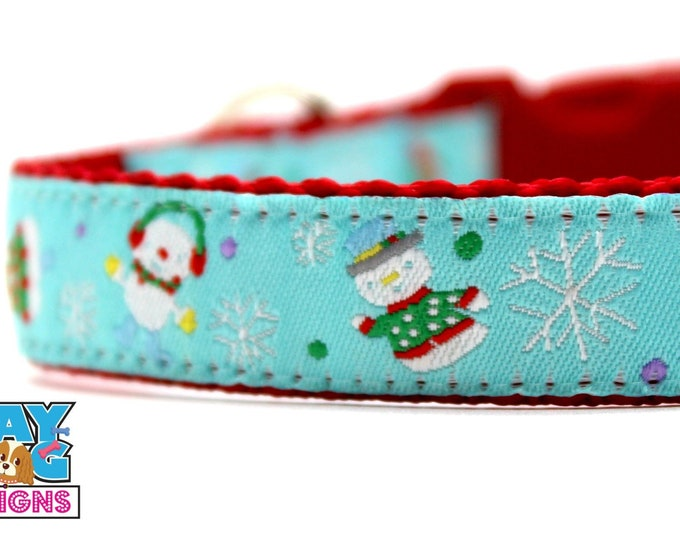 Silly Snowman Dog Collar in Blue, Adjustable Dog Collar, Winter Dog Collar, Christmas Dog Collar