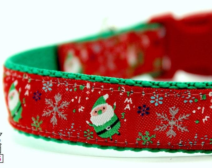 Green Santa Dog Collar, Adjustable Dog Collar, Winter Dog Collar, Christmas Dog Collar