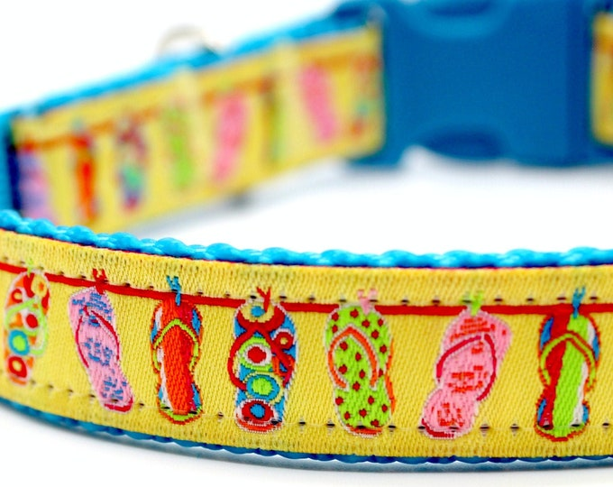 Flip Flop Dog Collar, Summer Dog Collar, Sandal Dog Collar, Adjustable Dog Collar, Beach Dog Collar, Yellow Dog Collar
