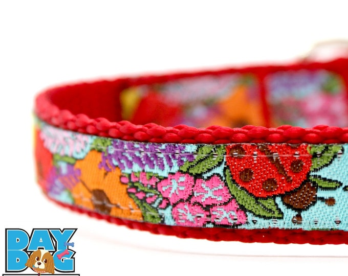 Ladybug Dog, Ladybugs in the Garden Dog Collar, 5/8 inch width Pet Collar, Adjustable Dog Collar, Little Dog Collar, Spring Dog Collar