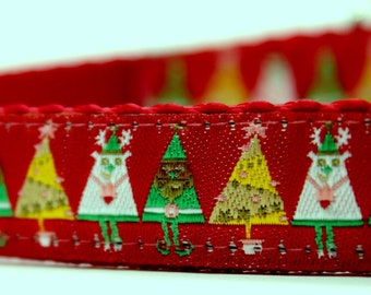 Festive Christmas Tree Dog Collar, Adjustable Dog Collar, Winter Dog Collar, Christmas Dog Collar