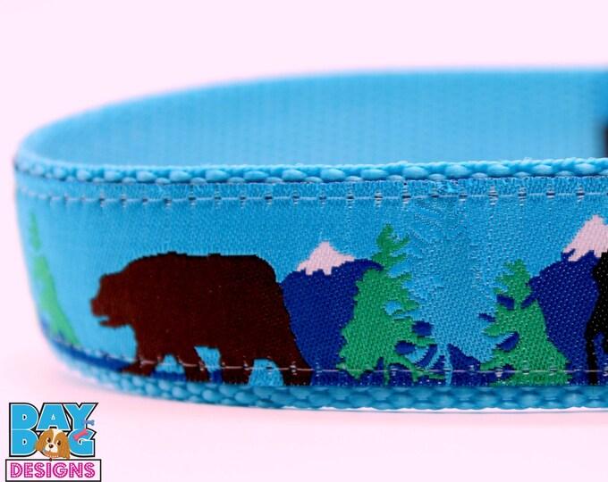 Brown Bear Black Moose Dog Collar, 1 inch width, Big Dog Collar, Adjustable Pet Collar, Winter Collar, Mountain Dog Collar