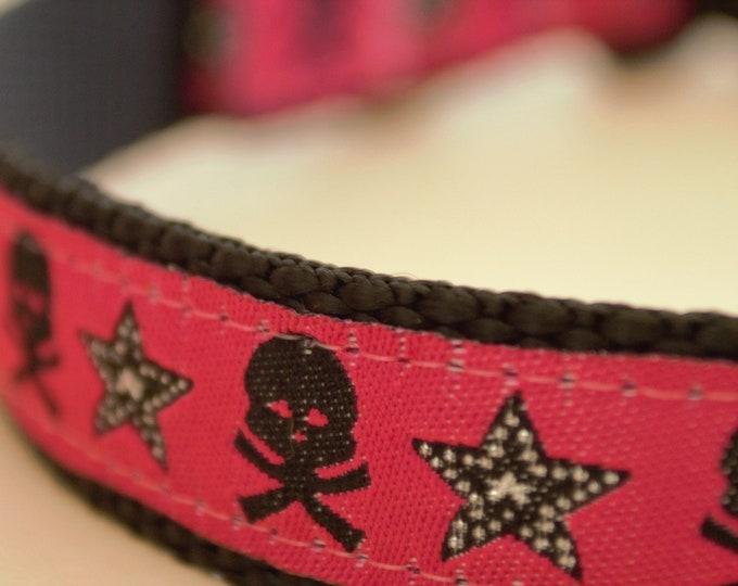 Skulls and Glitter Stars on Raspberry Adjustable Dog Collar