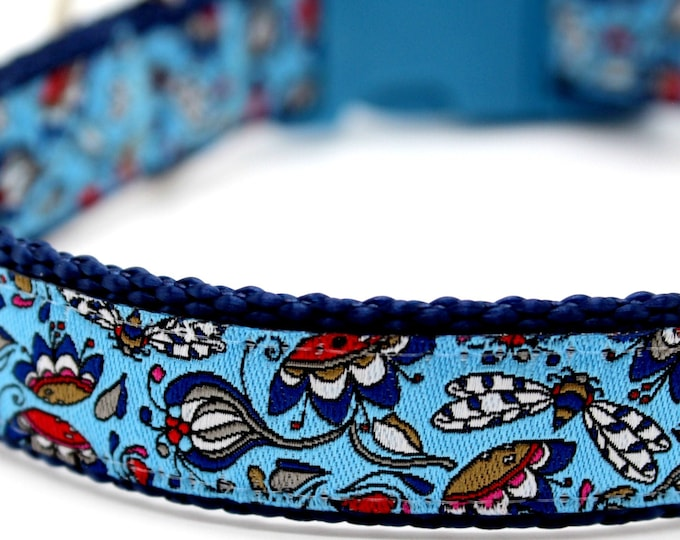 Victorian Gardens Dog Collar, Blue Dog Dog Collar, Adjustable Dog Collar, Designer Dog Collar