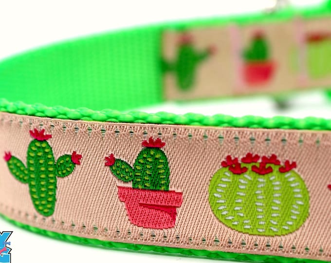 Cactus Dog Collar, Pink, Big Dog Collar, Southwest Dog Collar, Dessert Dog Collar, Saguaro Dog Collar, Flower Dog Collar, Millennial Pink