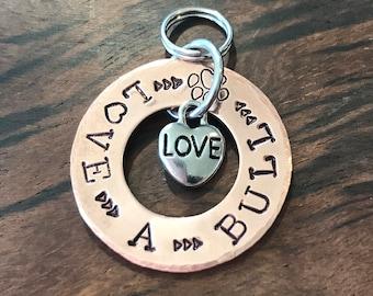Pit bull Bull Dog tag, Love a Pitty Dog, Metal Stamped, Handmade, Pet Tag, Pet ID Tag, Cute Pet Tag, Pet Tag, Big Dog Tag
