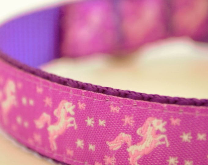 Purple Prancing Unicorns and Stars Adjustable Dog Collar