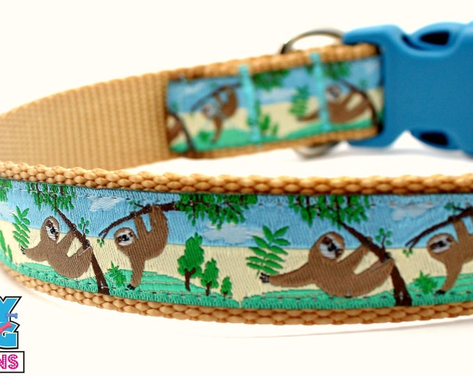 Sloth Dog Collar, Rain Forest Dog Collar, Adjustable Dog Collar, South America Pet Collar