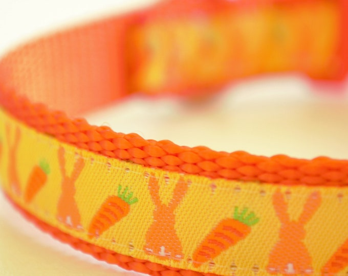 Bunny Bottoms and Carrots Adjustable Dog Collar Easter Dog Collar Spring Dog Collar