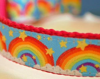 Rainbows and Stars Adjustable Summer Dog Collar