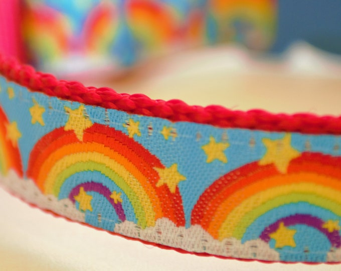 Rainbows and Stars Adjustable Dog Collar Summer Dog Collar