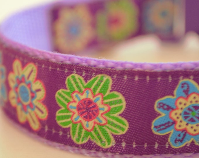 Tropical Flowers on Purple, 1 inch width, Big Dog Collar, Adjustable Pet Collar
