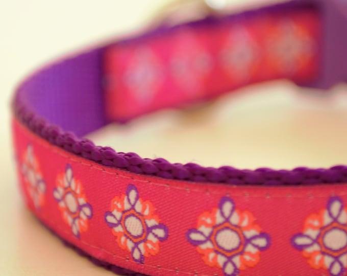 Mandala on Pink Adjustable Dog Collar