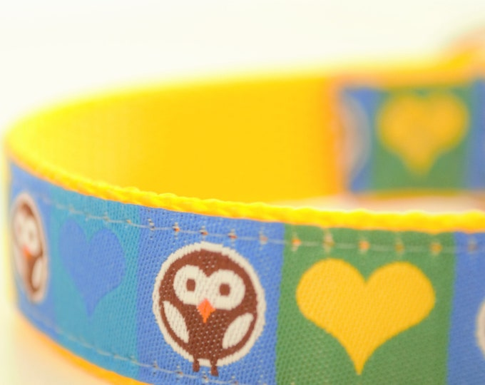 Owls in Circles with Hearts Adjustable Dog Collar Yellow Dog Collar Bright Dog Collar
