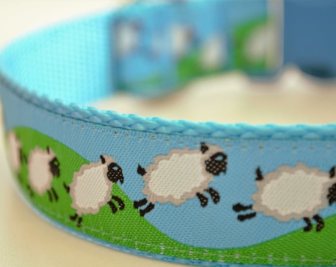 Counting Sheep, 1 inch width, Big Dog Collar, Colorful Ribbon Pet Collar, Adjustable