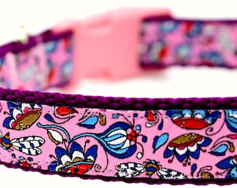 Victorian Gardens Dog Collar, Pink Adjustable Designer Dog Collar