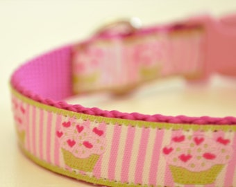Cupcakes on Stripes Adjustable Dog Collar Sprinkle Cupcakes Girly Dog Collar