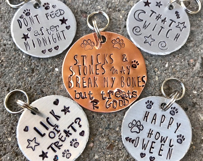 Halloween Hand Stamped Metal Dog Tag, Light weight small copper fun and festive pet tag
