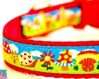 Mushrooms and Snails in the Garden Adjustable Dog Collar Summer Dog Collar Spring Dog Collar