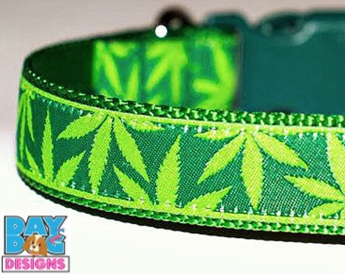 Greens Dog Collar, Herb Dog Collar, Big Dog Collar, Adjustable Dog Collar, Mary Jane Dog Collar, Pot Leaf Dog Dog Collar, Hemp Dog Collar