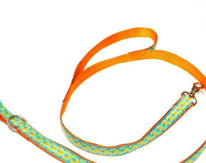 "Traffic Lead Ribbon Dog Leash, Leash with Handle, Matching Pet Lead, 5/8"" width, 3/4 inch width, 1 inch, Pick Your Length 3, 4, 5, 6 feet"