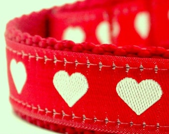 Hearts Dog Collar Small White Hearts on Red Adjustable Dog Collar Valentines Dog Collar