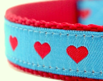 Hearts Dog Collar Small Red Hearts on Blue Adjustable Dog Collar Valentines Dog Collar