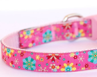 Kaleidoscope Flowers, Floral Dog Cat Collar, Pink Collar, Teacup, Kitty Cat, 1/2 inch width, Puppy