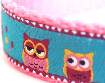 Owls on a Branch Dog Collar, Pink Teal Blue Dog Collar,  Adjustable Dog Collar, Folk Dog Collar