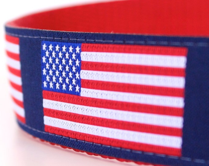 US Flag Dog Collar, 1 inch width Pet Collar, Big Dog, Patriotic Collar, July 4th, Red White & Blue Size Medium only.
